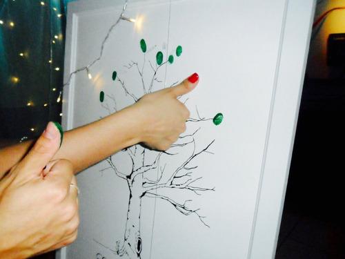 cuadro mural de huellas 65x70 casamientos 15 años