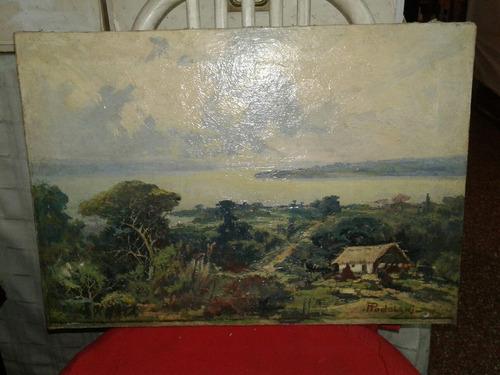 cuadro óleo sobre lienzo  paisaje firmado podolsky