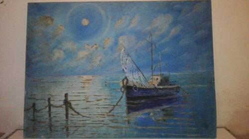 cuadro  pintura óleo marina firmada scabino
