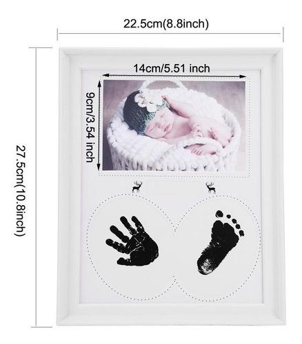 cuadro porta retrato bebe / huella de manos y pies. deco