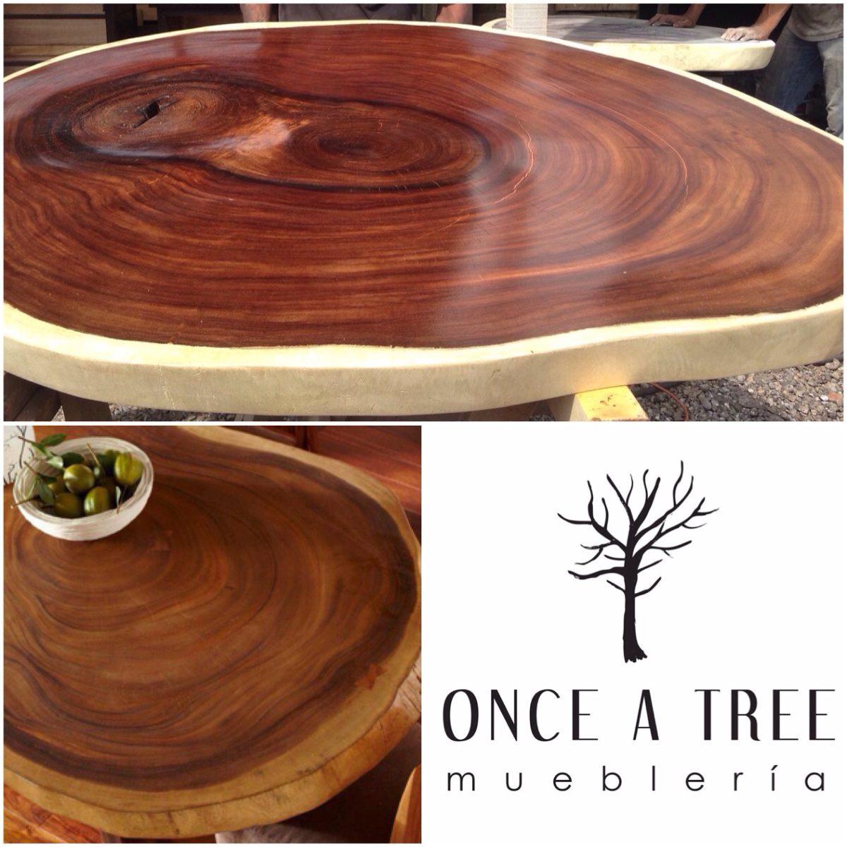Cubierta mesa de comedor redonda rebanada de madera parota - Mesa comedor redonda madera ...