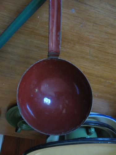 cucharón y espumadera esmaltados enlozados