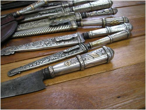 cuchillo armeria nacional  plata oro antig. plateria criolla