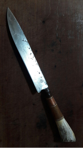 cuchillo criollo artesanal 22cm mango maderas y asta