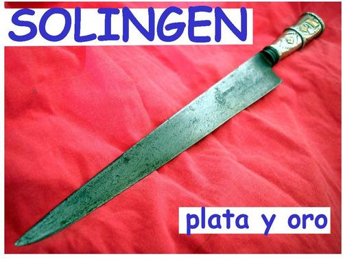 cuchillo viejo sello solingen plata oro plateria criolla