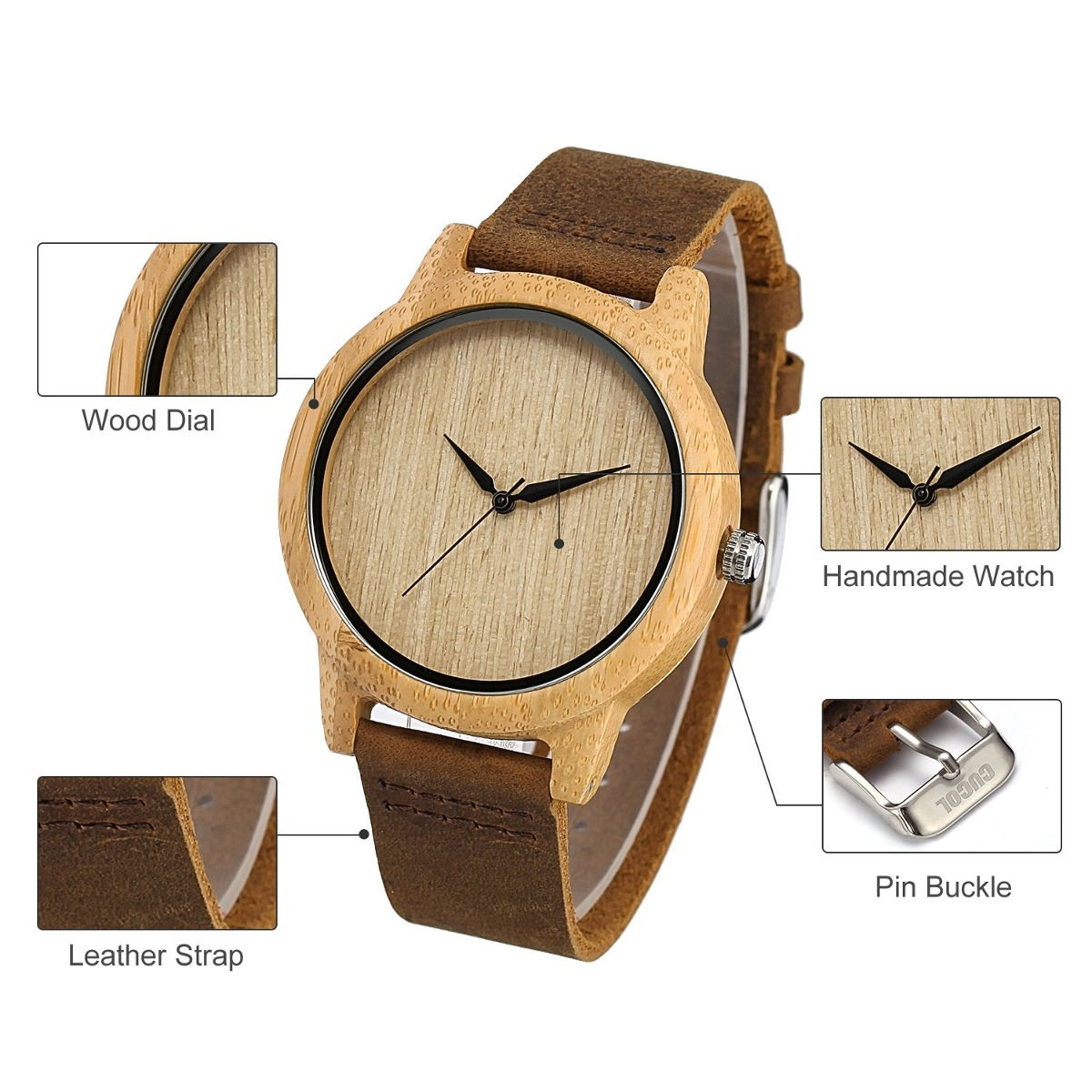 a8862598fe29 cucol relojes de madera de bambú para hombres minimalismo. Cargando zoom.