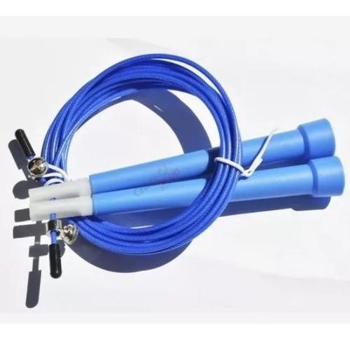 cuerda de saltar azul con rúleman eco crossfit boxeo