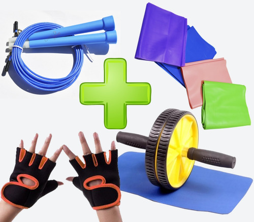 cuerda saltar  + rueda  + alfombra  + guantes  + 1 banda s4