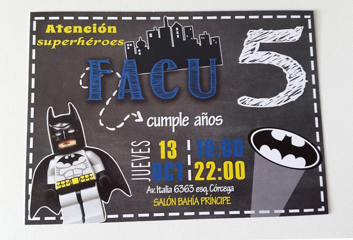 Cumpleaños Batman Tarjetas De Invitación $ 20,00 en Mercado Libre