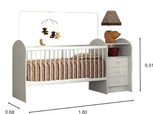 cuna dormitorio infantil 3 cajones 1 estante blanco bb22