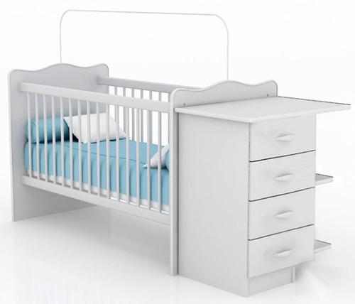 cuna para bebé con cambiador + cajonera + colchón