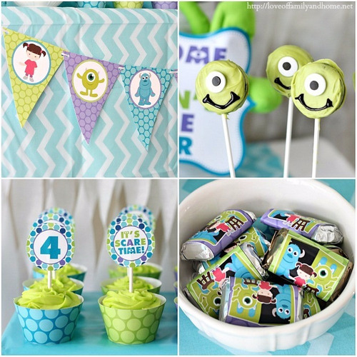 cupcakes monster inc, mike wazowski, mesa de dulces
