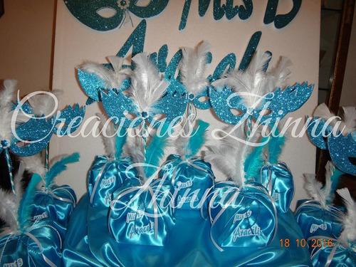 c.zhinna cotillon centro mesa adorno 15 años dobas antifaz