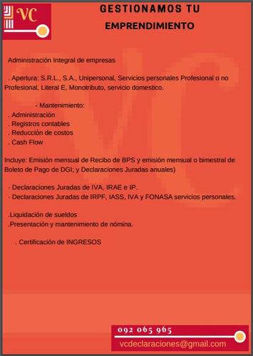 declaraciones irpf - declaracion de iva -fonasa contabilidad