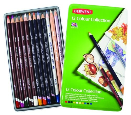 derwent colored pencil collection metal tin 12 count