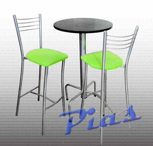 desayunador mesa alta redonda base color aluminio!