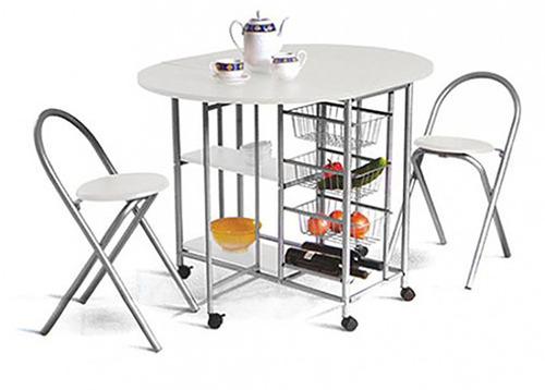 desayunador - mesa auxiliar cocina plegable banqueta blanco