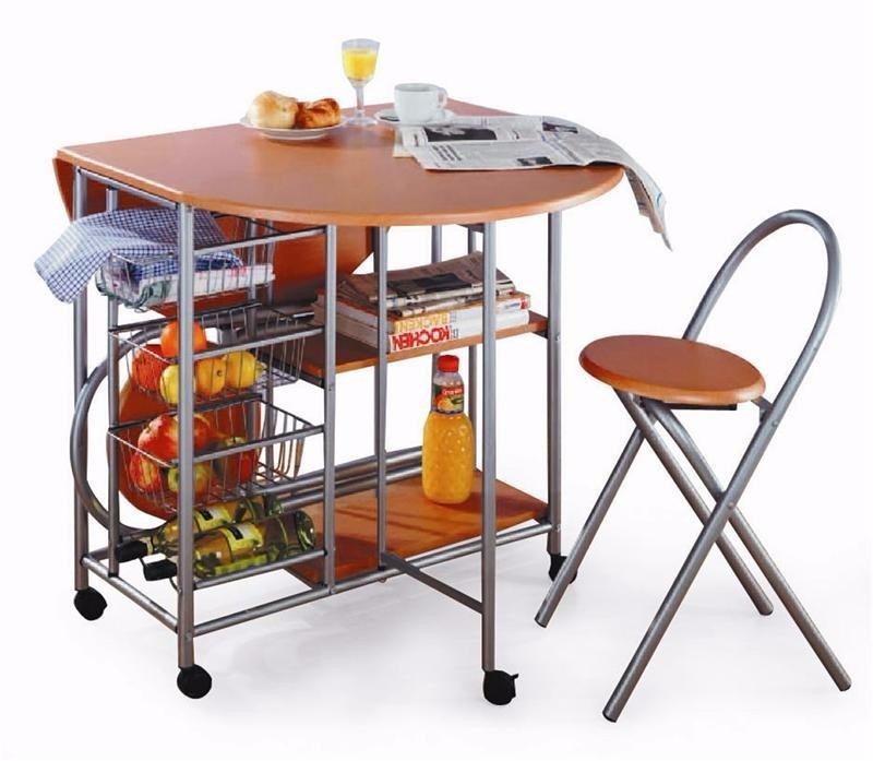 Desayunador - Mesa Auxiliar De Cocina Plegable C/2 Banquetas ...