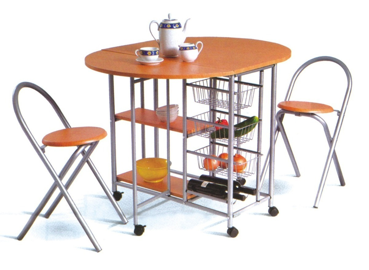 Desayunador Mesa Cocina Plegable Auxiliar Con 2 Banquetas