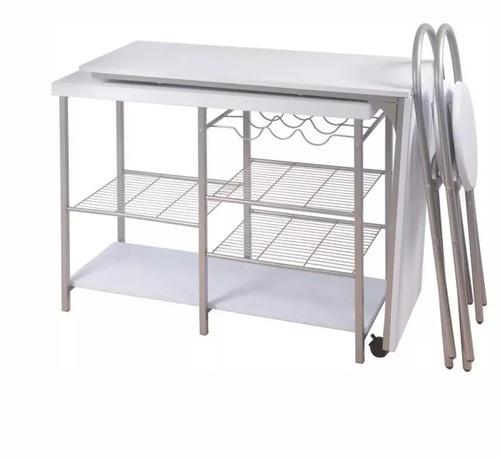 Desayunador y 2 sillas plegables cocina comedor for Desayunador cocina comedor