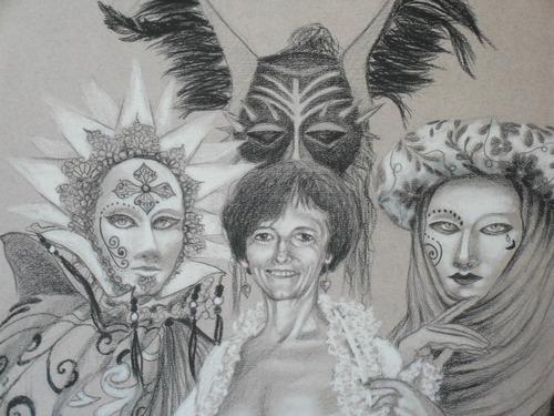 dibujo técnica: carbón y pastel sobre papel, enmarcado.