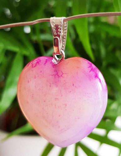 dije corazón ágata natural engarzado protección amuleto