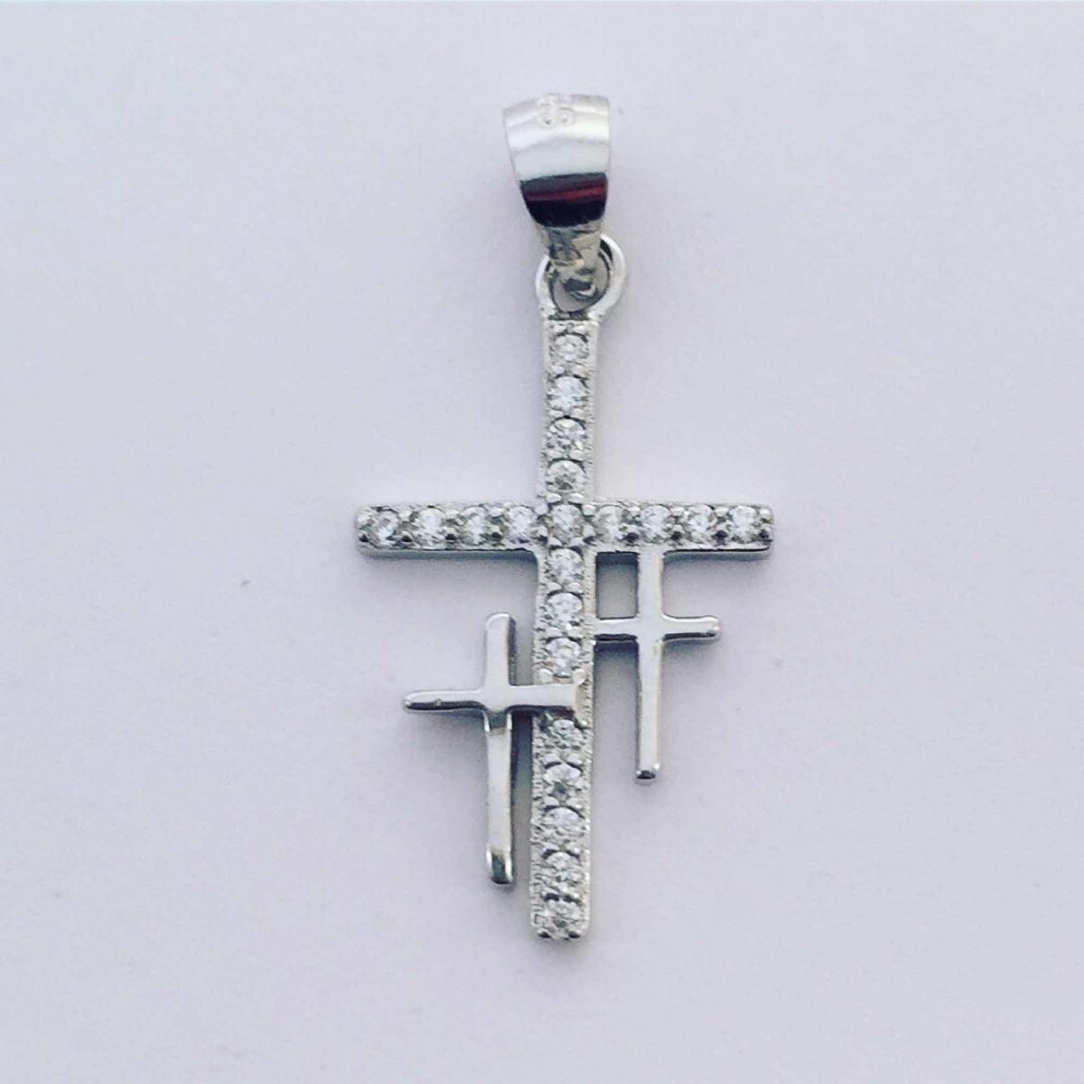 114f9e2bcfd0 Dije Tres Cruces Cruz En Plata 925 Y Zirconias Inspira Joyas -   450 ...