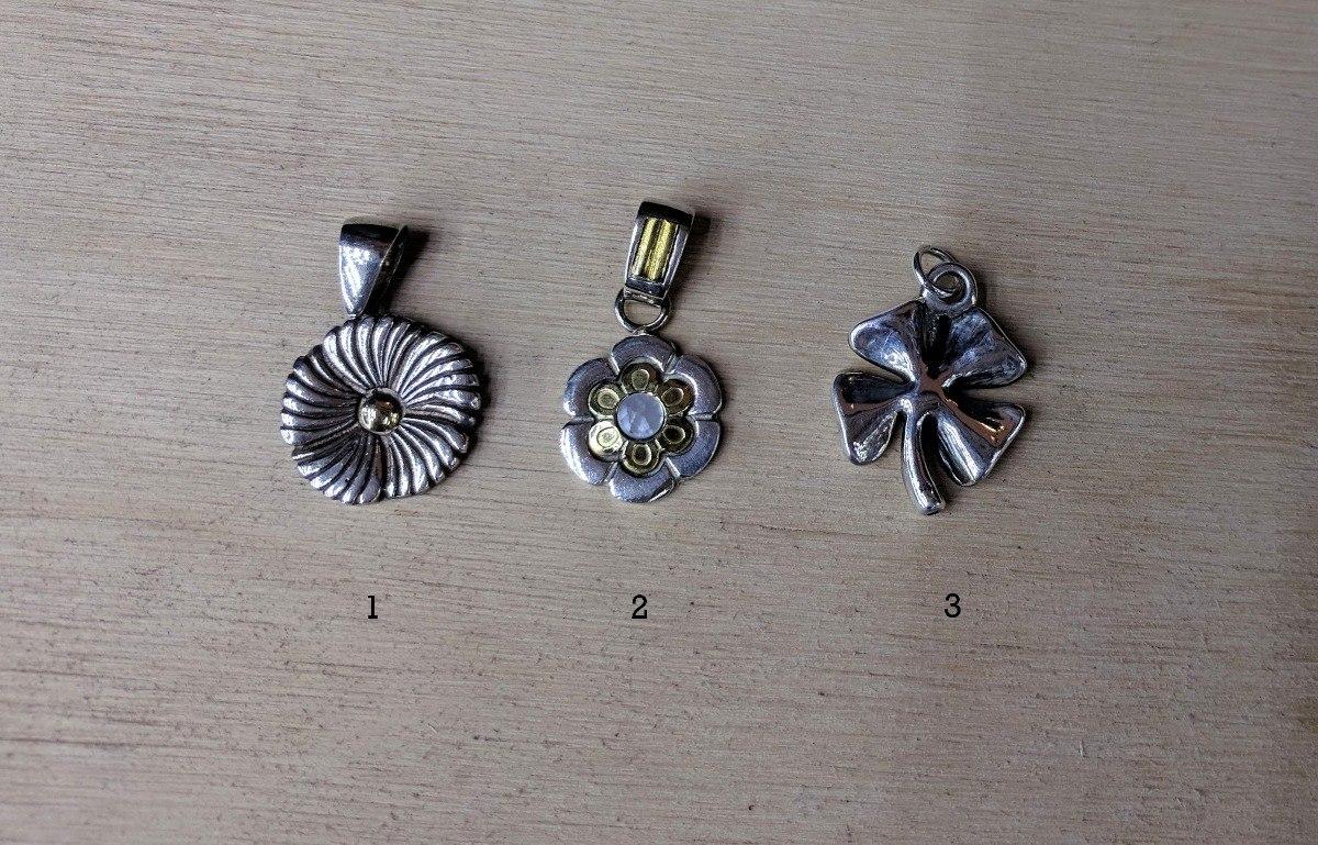 95186091918c Dijes Con Diseño De Flor En Plata 925 Y Oro A 1500 Pesos -   1.500 ...