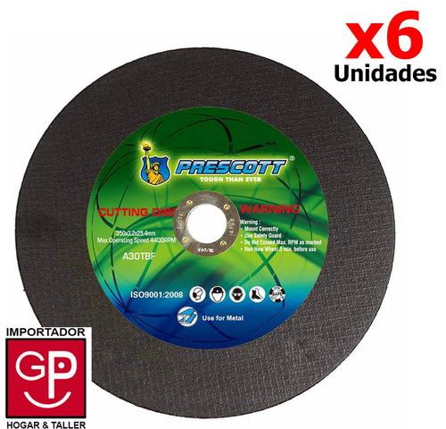 disco de corte para metal prescott x 6 unidades 180mm g p