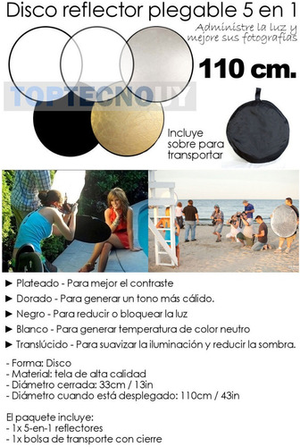 disco reflector luz 5 en 1 110cm fotografia iluminacion ®