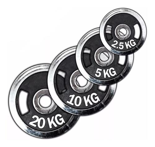 discos olímpicos cromados c/ agarre mancuerna pesas - el rey
