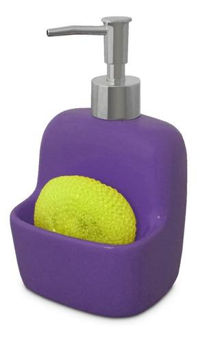 dispensador jabón violeta esponja accesorios cocina 810417