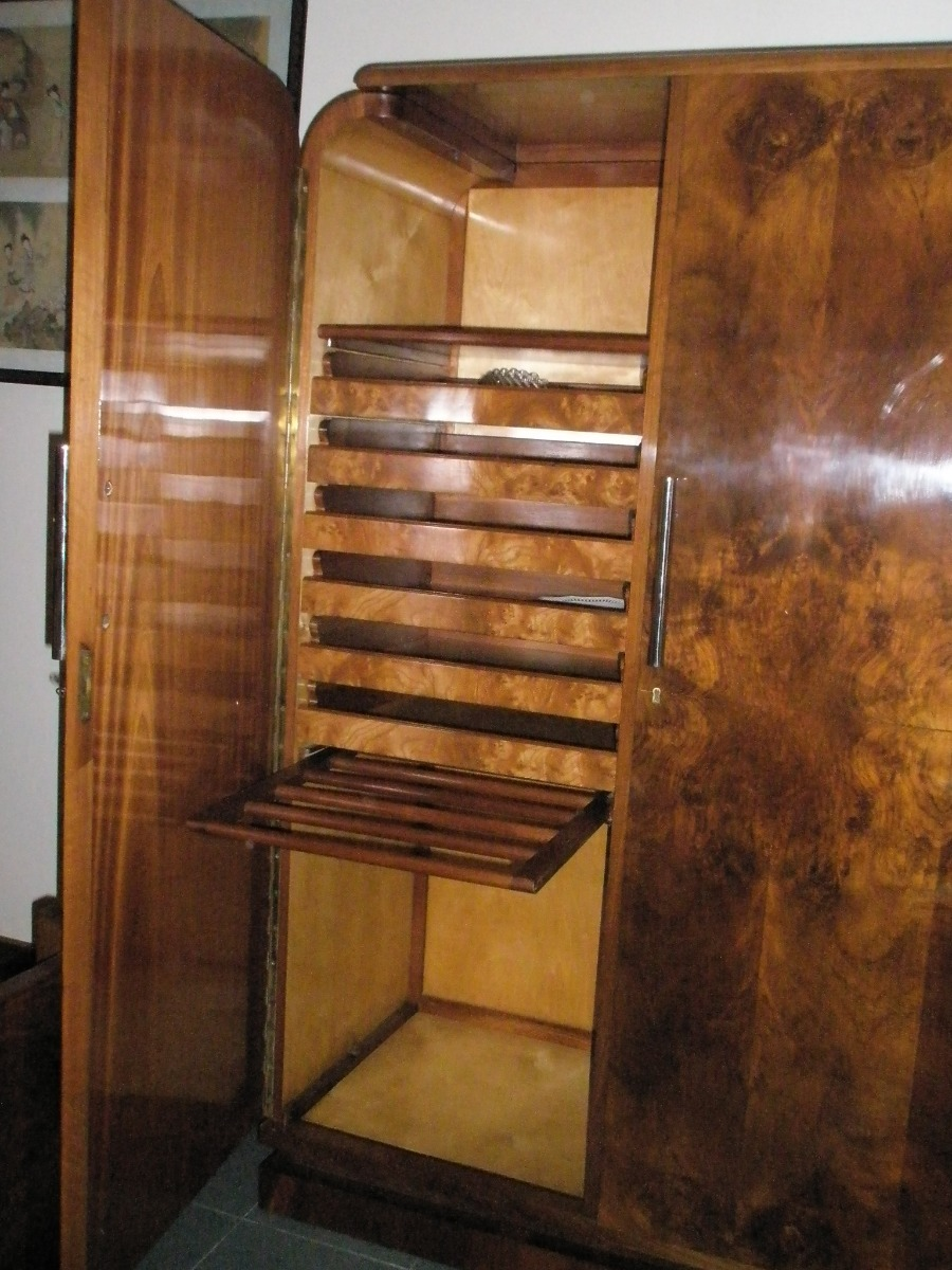 Dormitorio art deco europeo raiz de nogal original for Ejemplo de dormitorio deco