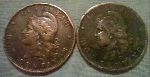 dos  monedas argentinas 1893-1890 lomas de zamora