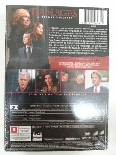dvd damages - 3ª temporada completa 3 discos - lacrado!!!