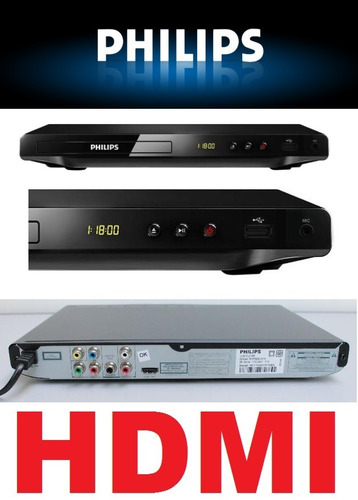 dvd player philips dvp3680kx/78 cabo hdmi visor e karaokê