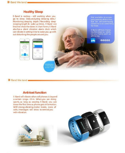 e-band reloj inteligente bluethoot android iphone