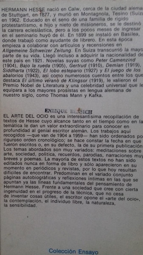 el arte del ocio / hermann hesse .