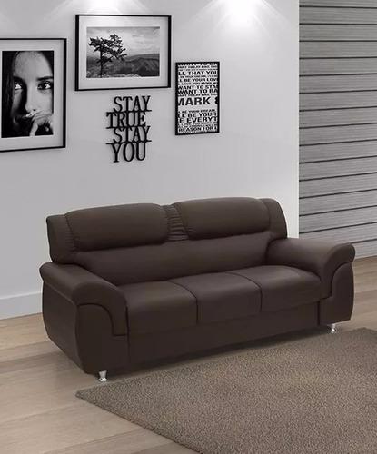 elegante sillón en eco cuero sofá 3 cuerpos milenio