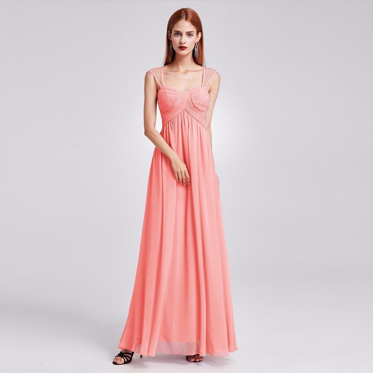 Elegante Vestido Fiesta Largo Gasa Rosa Importado - $ 4.400,00 en ...