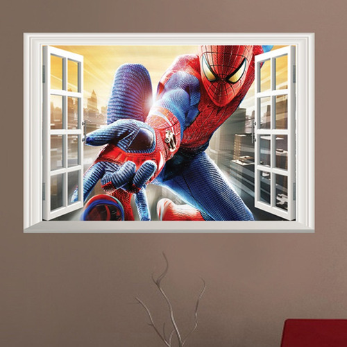 empapelado 3d mural adhesivo  calcomanía spiderman 40x60 cm
