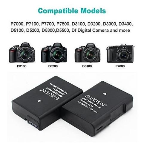 Cargador Usb Doble Para Nikon D5600 D5300 D5200 D3400 2x EN-EL14 Enel 14a Batería
