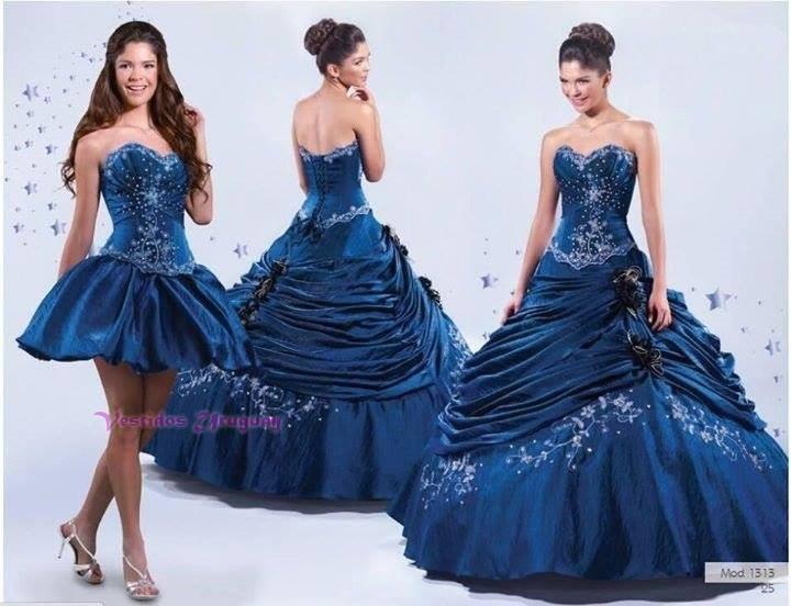 4e8288ddd9 En Stock! Vestido 15 Años Azul Desmontable 3 Piezas!oferta ...