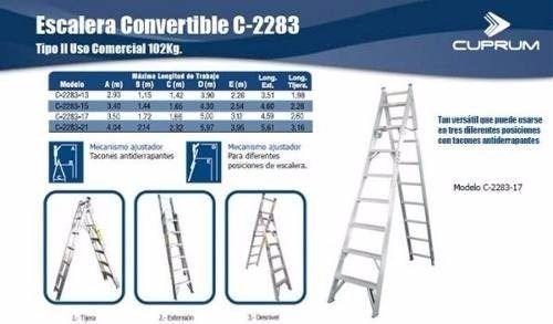 escalera convertible tipo tijera extensible 12 esc. 3.22 mts