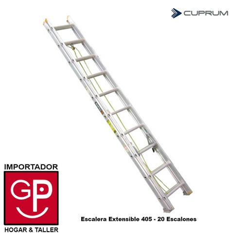 escalera extensible de aluminio 405 - 20 escalones cuprum gp
