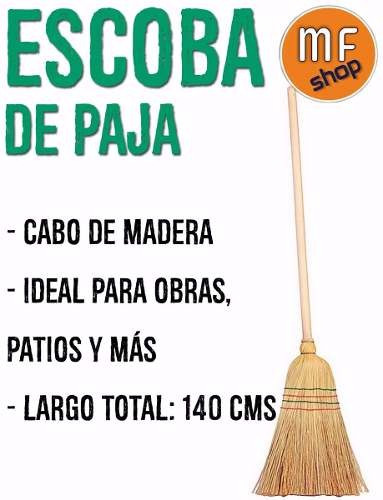 escoba de paja largo 1,40 mt barrer limpieza pisos mf shop
