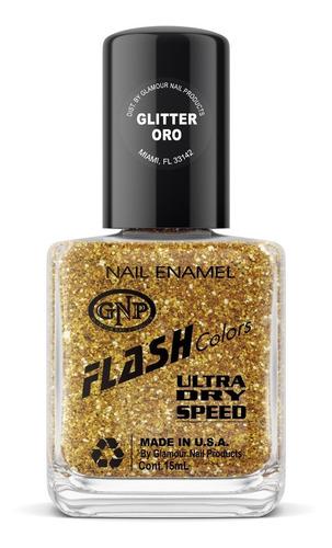 esmalte flash colors de gnp 15ml glitter oro
