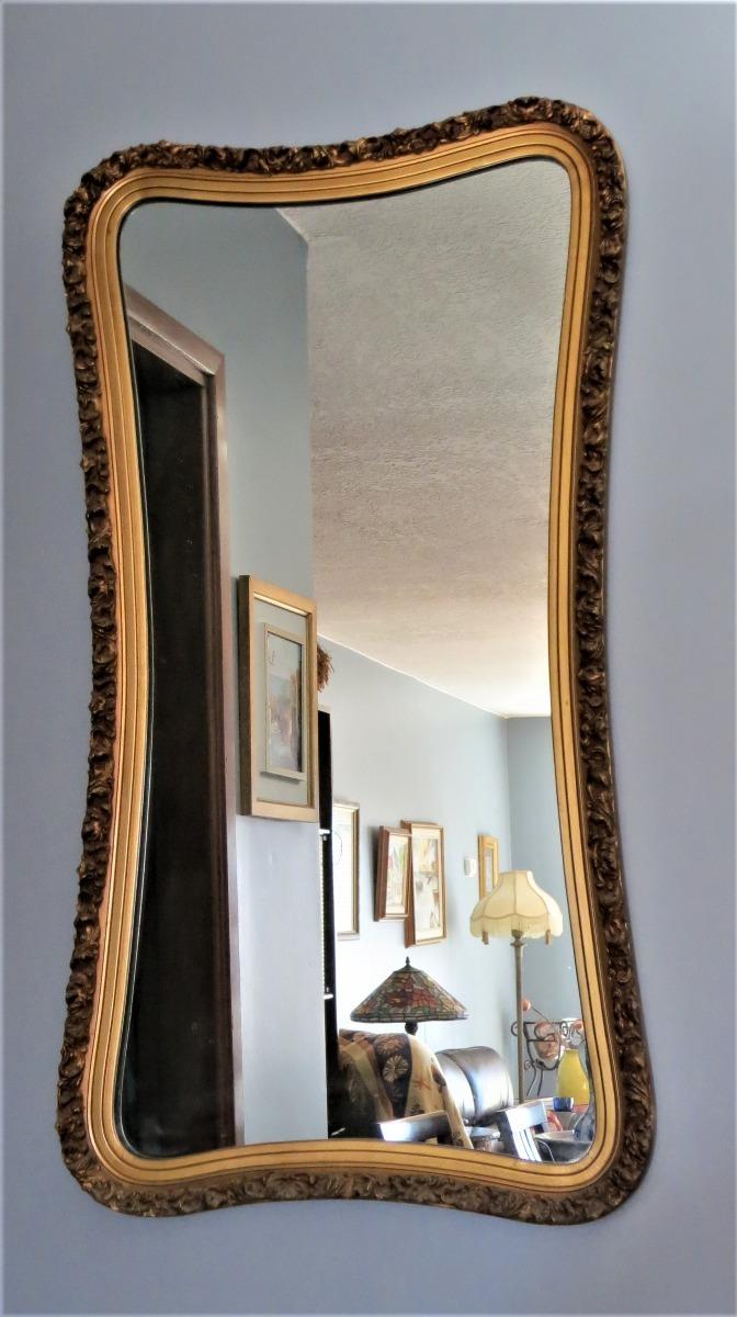 Espejo Antiguo Con Marco De Madera Tallada Recubierto Oro - $ 6.000 ...