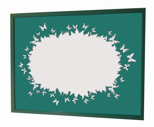 espejo con vinilo y marco madera punto arte