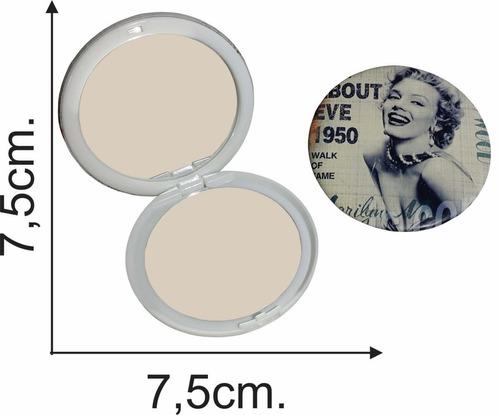 espejo de cartera plegable doble marilyn 7,5 cms c/u - el re